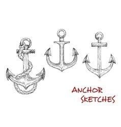Heraldic ship anchors sketch icons vector image