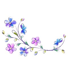 Horizontal white background with blue flowers vector image