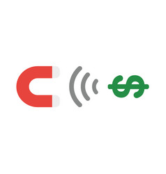 icon concept of magnet attracting dollar money vector image