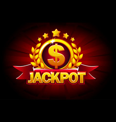 jackpot banner with red ribbon and text vector image