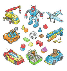 kids toys cartoon boyish games in playroom vector image