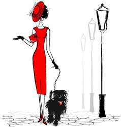 Lady with black dog vector