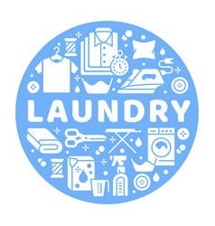 Laundry service banner with flat vector