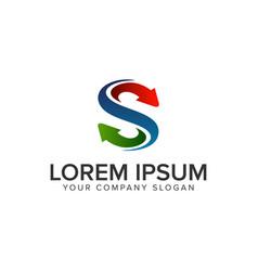 letter s input output logo design concept vector image