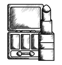 lipstick and eye shadows make up drawing icon vector image