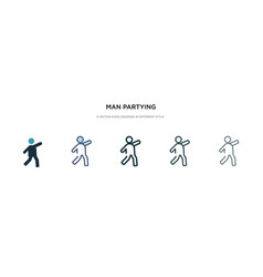 Man partying icon in different style two colored vector