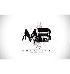 Mb m b grunge brush letter logo design in black vector