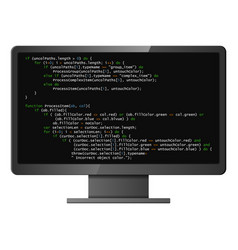 monitor with program code on screen vector image
