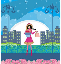 night shopping vector image