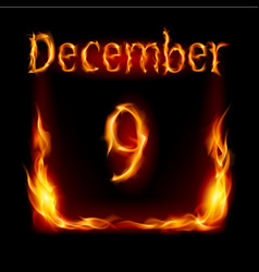 Ninth december in calendar of fire icon on black vector