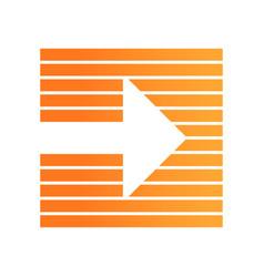 Orange arrow on striped background flat design vector