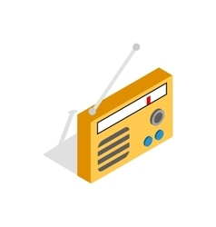 Orange retro radio receiver icon vector