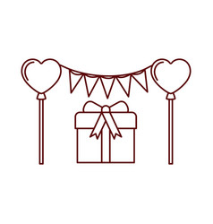 party garland with gift box isolated icon vector image