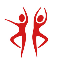 People fitness dancing icon vector