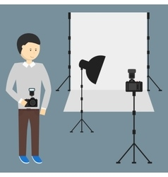 Photography Studio with a Light Set Up vector