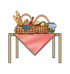 picnic baskets vector image