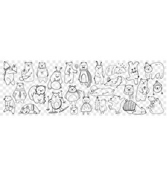 polar and teddy bear doodle set vector image