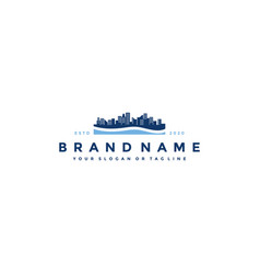 Pool and building logo design vector