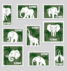 postage stamps with elephant vector image