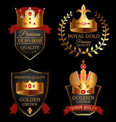 premium quality mark set with golden crown vector image