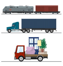 Railway transportation and trucking vector