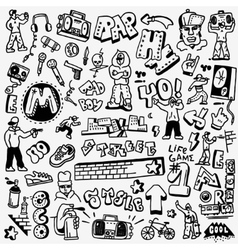 rap hip hop graffiti - doodles set vector image