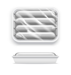 realistic template blank white sausage in vector image