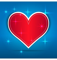 Red paper heart on blue background vector