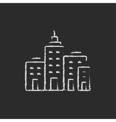 Residential buildings icon drawn in chalk vector