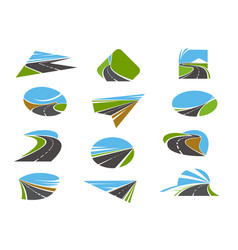 Road icons highway pathway routes traffic ways vector
