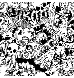 Seamless halloween pattern with horror elements vector image