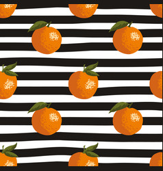seamless summer pattern with oranges on black and vector image