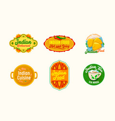 set icons for indian food restaurant cartoon vector image