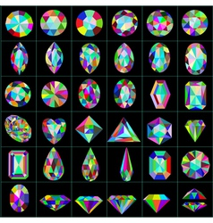 set of precious and artificial stones of different vector image