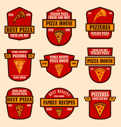 set pizzeria emblems design element for logo vector image
