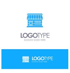 shop online market store building blue solid logo vector image