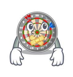 silent cartoon dartcoard next to wooden table vector image