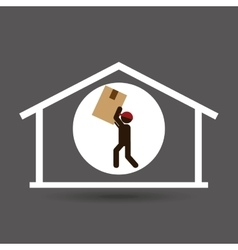 Silhouette delivery man carrying big box vector