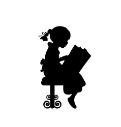 Silhouette of girl reading books vector