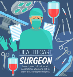 Surgery medical center surgeon in mask vector