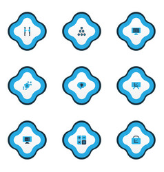 Teamwork icons colored set with hierarchy vector