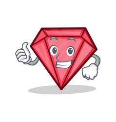 Thumbs up diamond character cartoon style vector