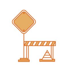 Traffic signal with fence and cone vector