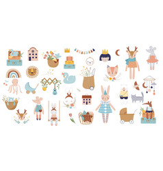 Trendy baby and children icons stickers tattoos vector