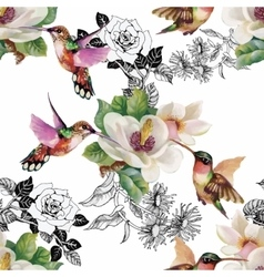 Tropical floral watercolor seamless pattern with vector