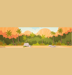 tropical forest with mountains background resort vector image