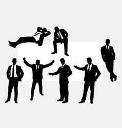 Useful businessman action silhouettes vector