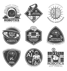 vintage future technology labels set vector image