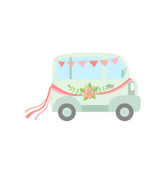 vintage van decorated with flags ribbons and vector image