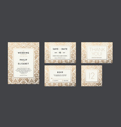 vintage wedding invitation collection modern vector image